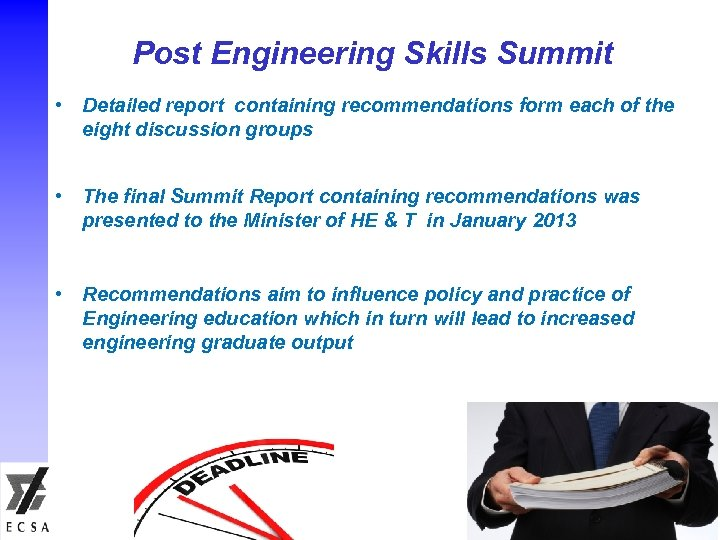 Post Engineering Skills Summit • Detailed report containing recommendations form each of the eight