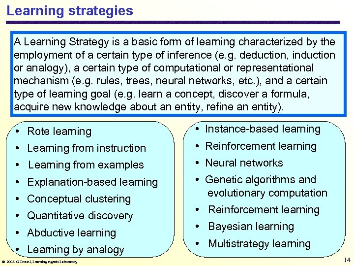 Learning strategies A Learning Strategy is a basic form of learning characterized by the