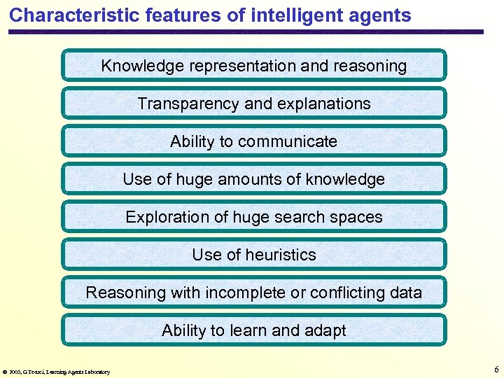 Characteristic features of intelligent agents Knowledge representation and reasoning Transparency and explanations Ability to