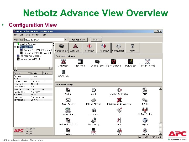 Netbotz Advance View Overview • Configuration View APC by Schneider Electric – Name –
