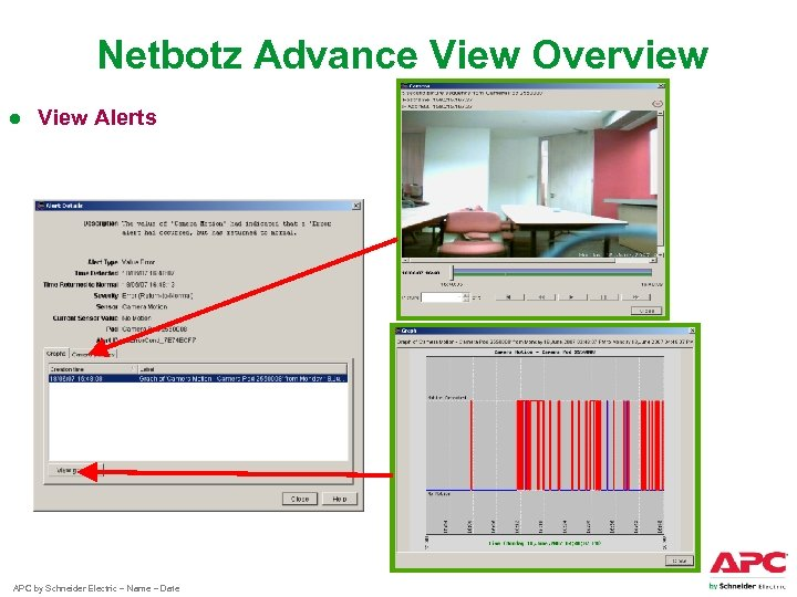 Netbotz Advance View Overview ● View Alerts APC by Schneider Electric – Name –