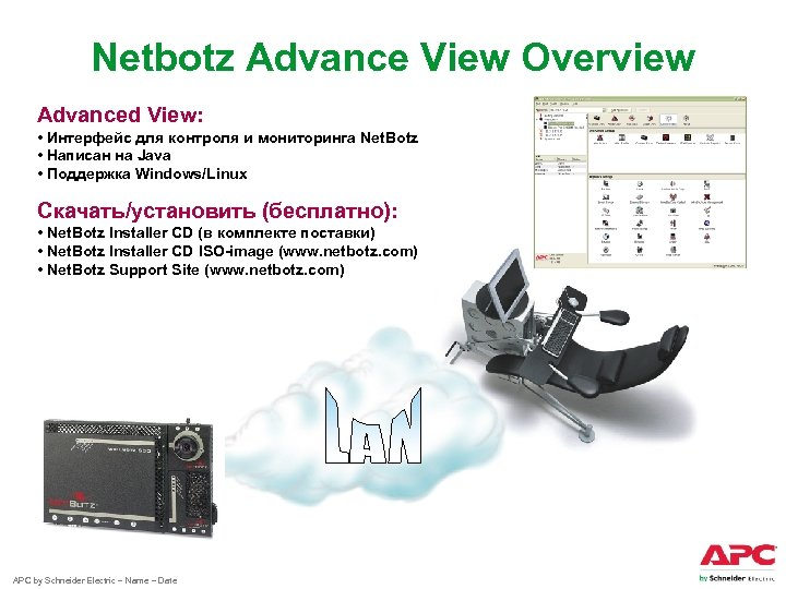 Netbotz Advance View Overview Advanced View: • Интерфейс для контроля и мониторинга Net. Botz