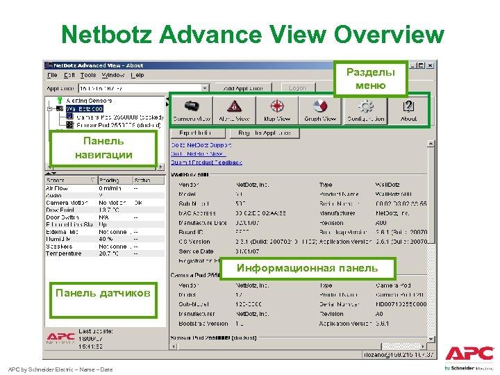 Netbotz Advance View Overview Разделы меню Панель навигации Информационная панель Панель датчиков APC by