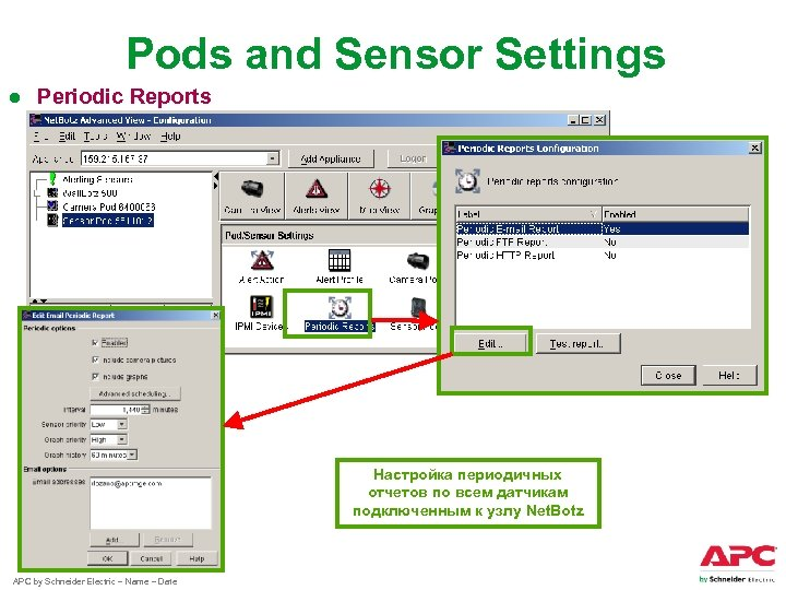 Pods and Sensor Settings ● Periodic Reports Настройка периодичных отчетов по всем датчикам подключенным