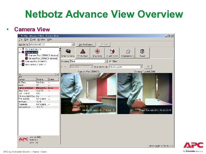 Netbotz Advance View Overview • Camera View APC by Schneider Electric – Name –
