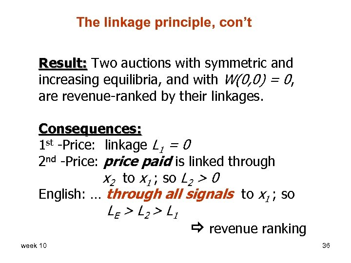 The linkage principle, con't Result: Two auctions with symmetric and increasing equilibria, and with