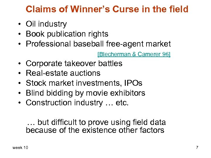 Claims of Winner's Curse in the field • Oil industry • Book publication rights