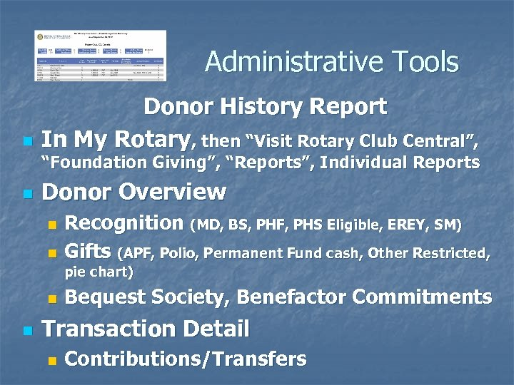 """Administrative Tools n Donor History Report In My Rotary, then """"Visit Rotary Club Central"""","""
