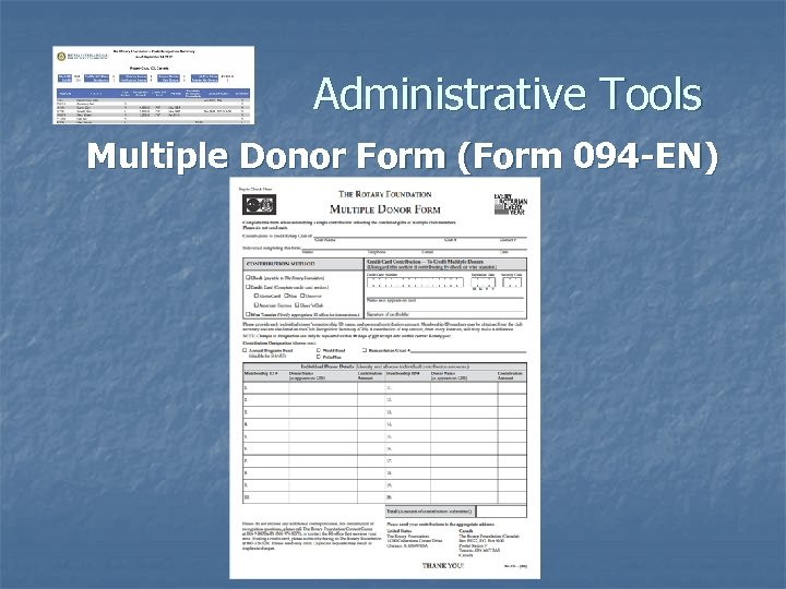 Administrative Tools Multiple Donor Form (Form 094 -EN)
