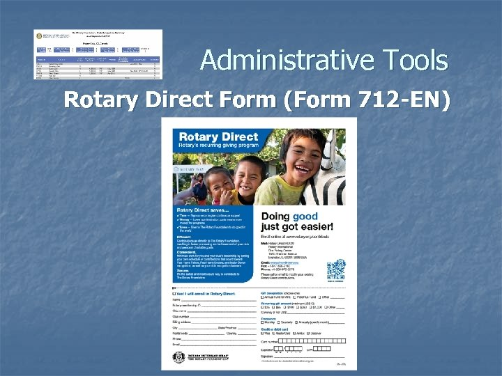 Administrative Tools Rotary Direct Form (Form 712 -EN)