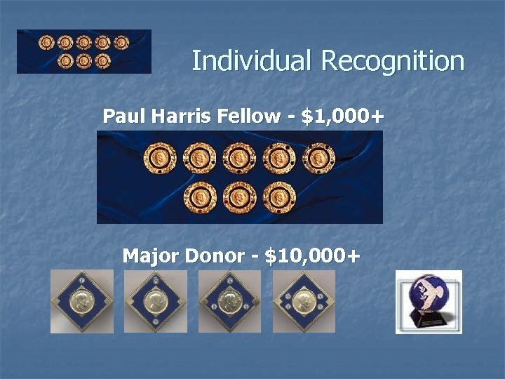 Individual Recognition Paul Harris Fellow - $1, 000+ Major Donor - $10, 000+