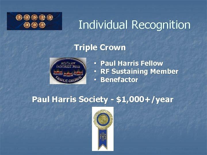 Individual Recognition Triple Crown • Paul Harris Fellow • RF Sustaining Member • Benefactor