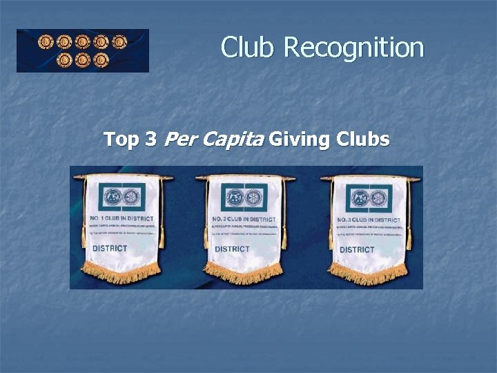 Club Recognition Top 3 Per Capita Giving Clubs