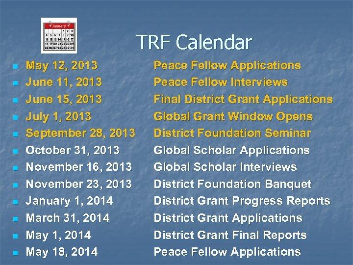 TRF Calendar n n n May 12, 2013 June 11, 2013 June 15, 2013