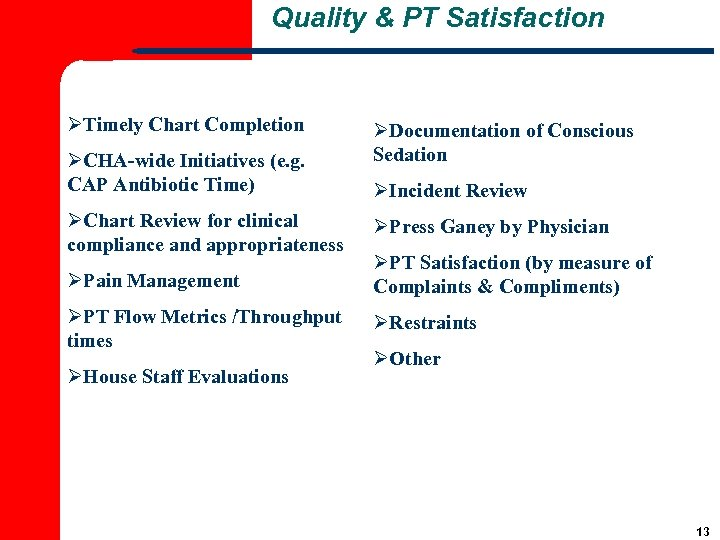 Quality & PT Satisfaction ØTimely Chart Completion ØCHA-wide Initiatives (e. g. CAP Antibiotic Time)