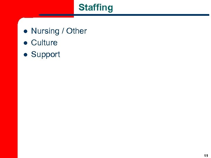 Staffing l l l Nursing / Other Culture Support 15