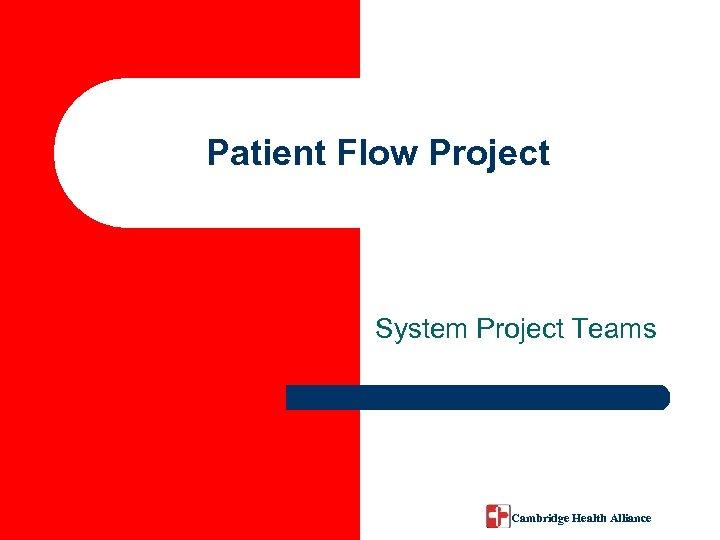 Patient Flow Project System Project Teams Cambridge Health Alliance