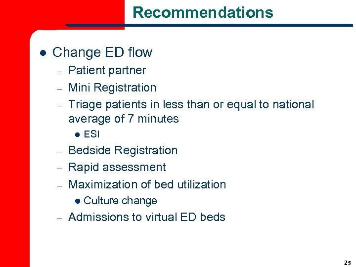 Recommendations l Change ED flow – – – Patient partner Mini Registration Triage patients
