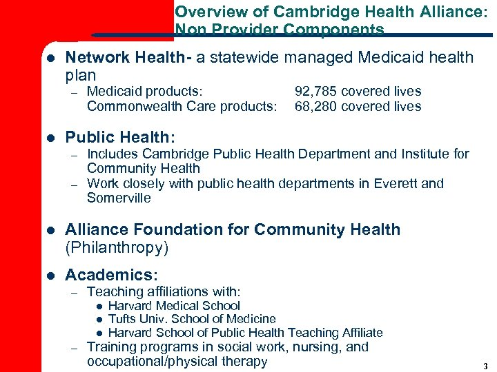 Overview of Cambridge Health Alliance: Non Provider Components l Network Health- a statewide managed