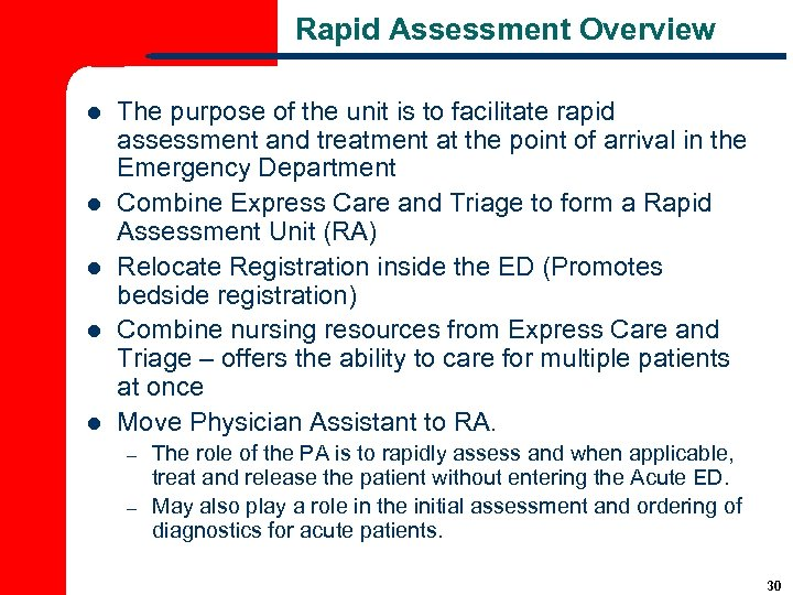Rapid Assessment Overview l l l The purpose of the unit is to facilitate