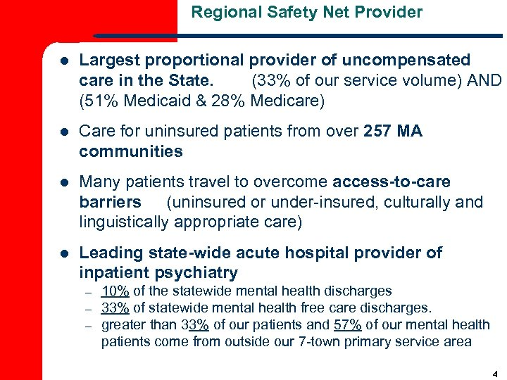 Regional Safety Net Provider l Largest proportional provider of uncompensated care in the State.