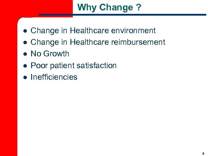 Why Change ? l l l Change in Healthcare environment Change in Healthcare reimbursement