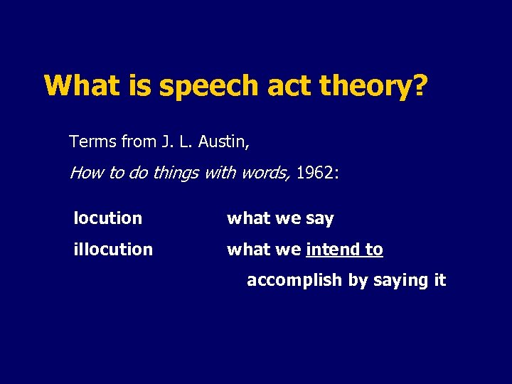 What is speech act theory? Terms from J. L. Austin, How to do things