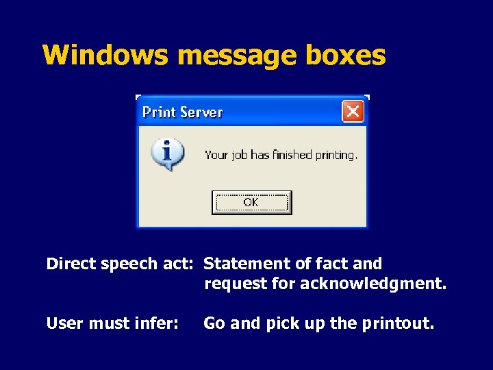 Windows message boxes Direct speech act: Statement of fact and request for acknowledgment. User