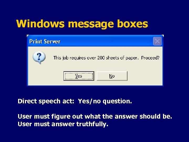 Windows message boxes Direct speech act: Yes/no question. User must figure out what the