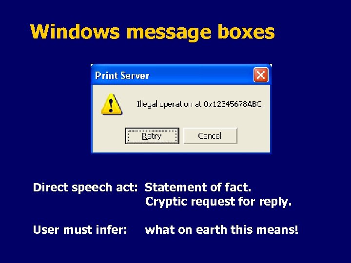 Windows message boxes Direct speech act: Statement of fact. Cryptic request for reply. User