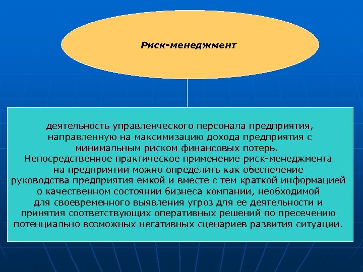 Риск-менеджмент деятельность управленческого персонала предприятия, направленную на максимизацию дохода предприятия с минимальным риском финансовых