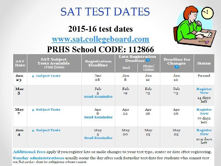 SAT TEST DATES 2015 -16 test dates www. sat. collegeboard. com PRHS School CODE: