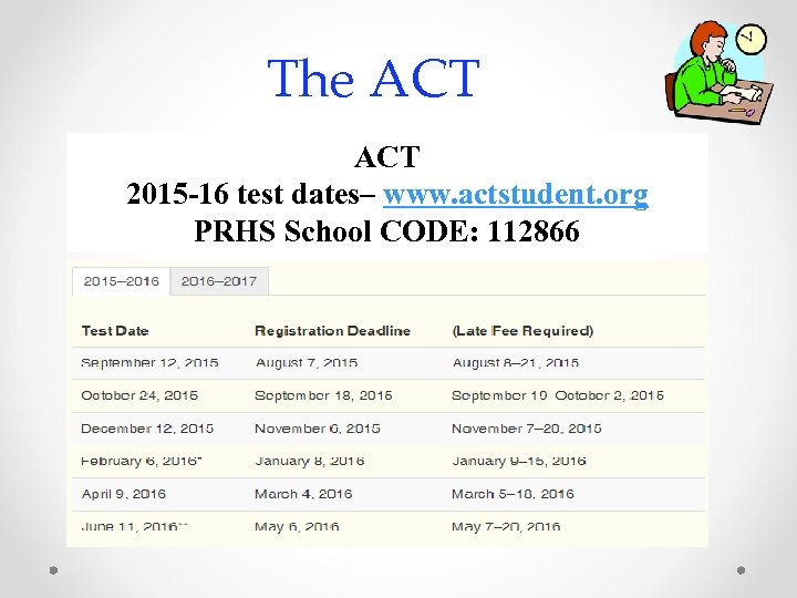 The ACT 2015 -16 test dates– www. actstudent. org PRHS School CODE: 112866