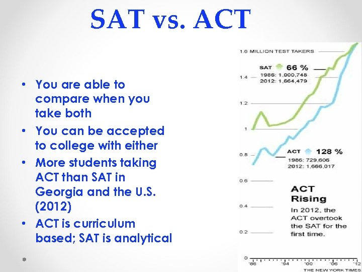 SAT vs. ACT • You are able to compare when you take both •