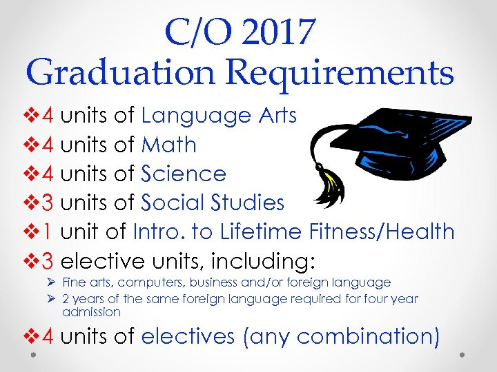 C/O 2017 Graduation Requirements v 4 units of Language Arts v 4 units of
