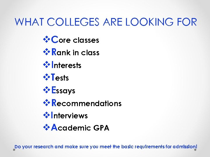 WHAT COLLEGES ARE LOOKING FOR v. Core classes v. Rank in class v. Interests
