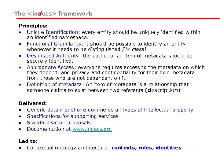The <indecs> framework Principles: • Unique Identification: every entity should be uniquely identified within