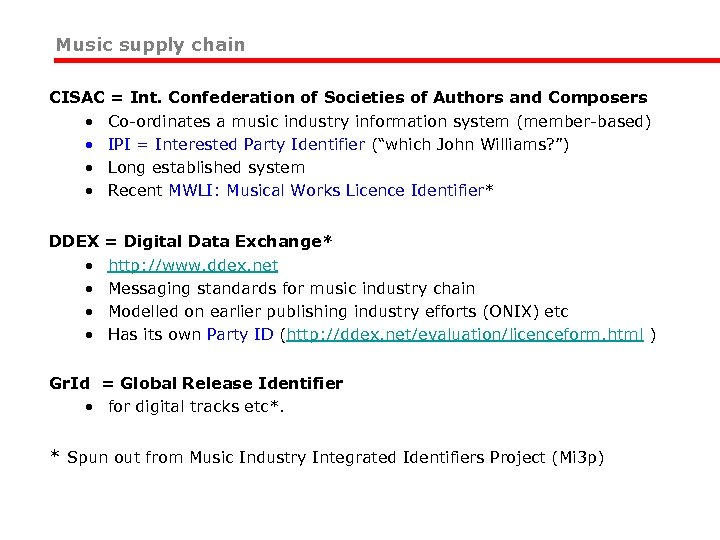 Music supply chain CISAC = Int. Confederation of Societies of Authors and Composers •