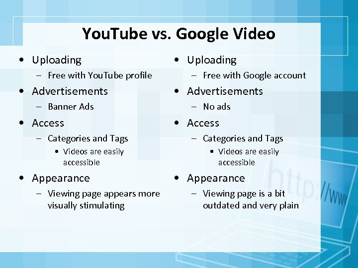 You. Tube vs. Google Video • Uploading – Free with You. Tube profile •