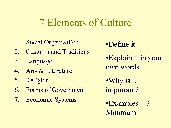 7 Elements of Culture 1. 2. 3. 4. 5. 6. 7. Social Organization Customs