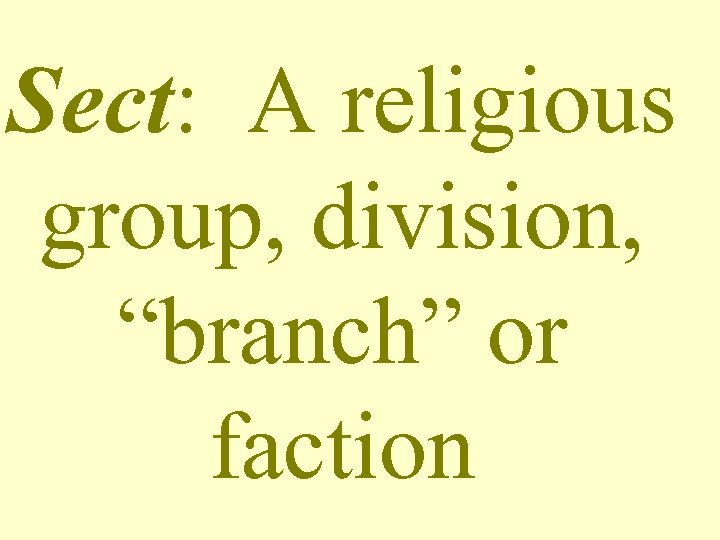 "Sect: A religious group, division, ""branch"" or faction"