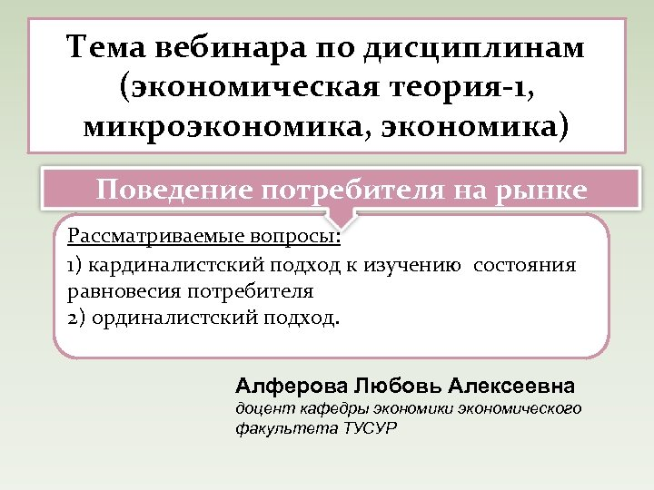 Тема вебинара по дисциплинам (экономическая теория-1, микроэкономика, экономика) Поведение потребителя на рынке Рассматриваемые вопросы: