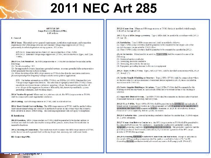 2011 NEC Art 285 Copyright APT 13