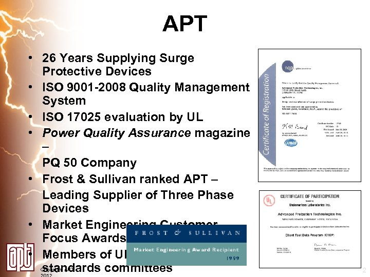 APT • 26 Years Supplying Surge Protective Devices • ISO 9001 -2008 Quality Management