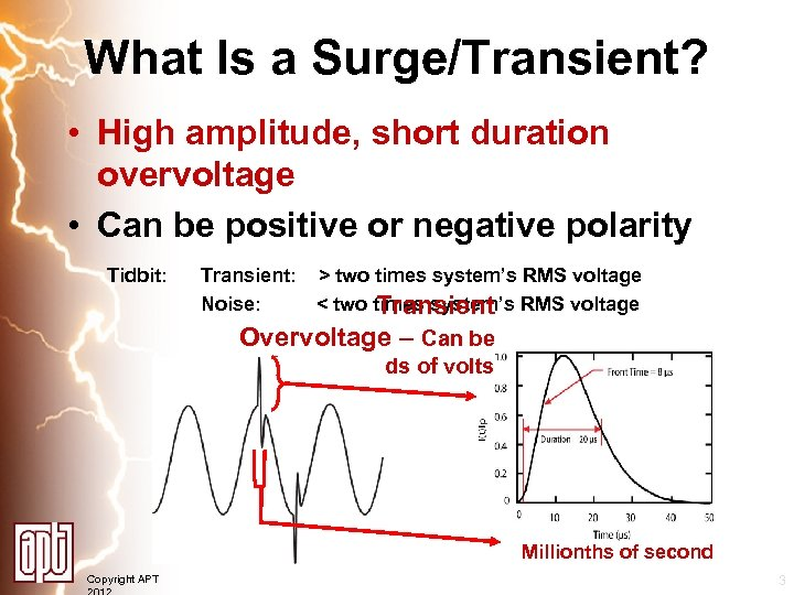 What Is a Surge/Transient? • High amplitude, short duration overvoltage • Can be positive