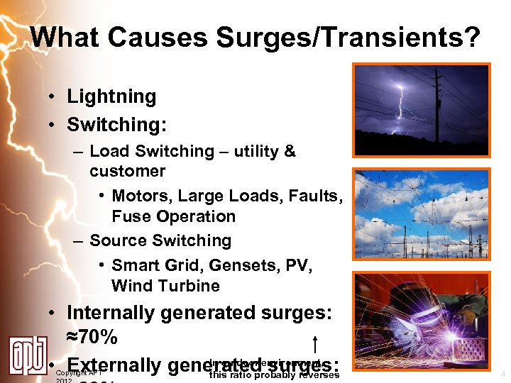 What Causes Surges/Transients? • Lightning • Switching: – Load Switching – utility & customer