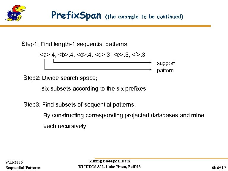 Prefix. Span (the example to be continued) Step 1: Find length-1 sequential patterns; <a>: