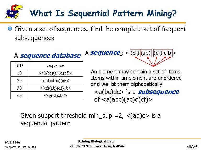 What Is Sequential Pattern Mining? Given a set of sequences, find the complete set