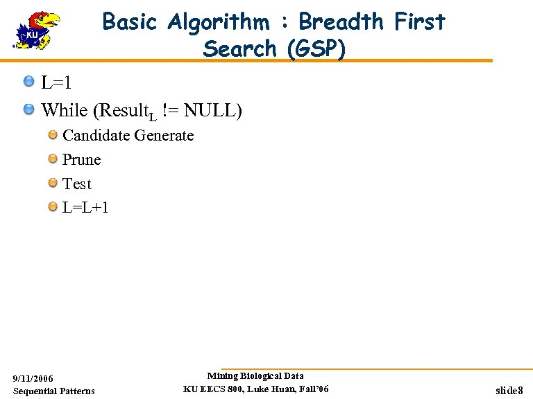 Basic Algorithm : Breadth First Search (GSP) L=1 While (Result. L != NULL) Candidate