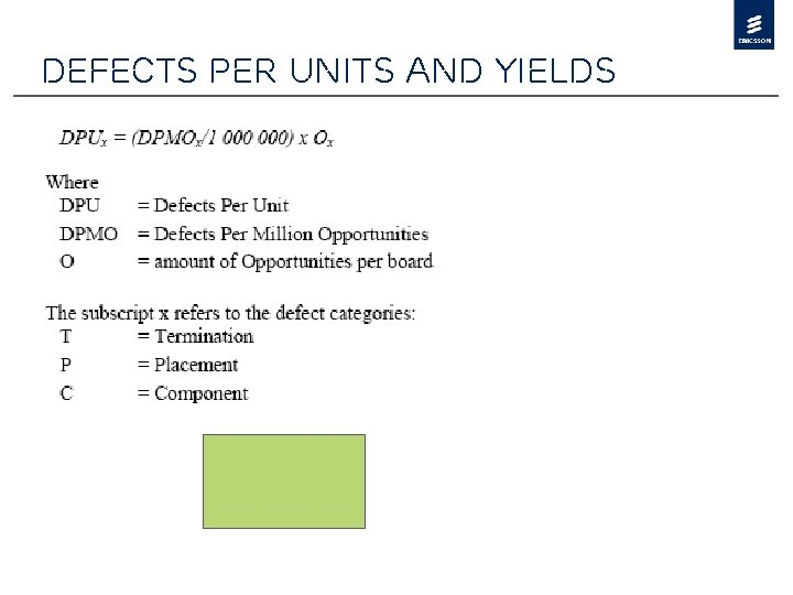 Defects per units and yields